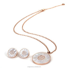 Chengfen jewelry for women Latest design shell jewelry stainless steel set rose gold plated jewelry sets
