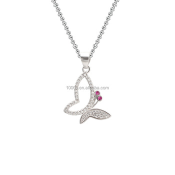 Trendy Jewelry Necklace Pendant, Chinese Lucky Charm Butterfly 925 Sterling Silver Pendant
