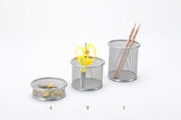 B8802 High Quality Metal Mesh Pen Pencil Clip Holder Rotatable Stationery Storage Box