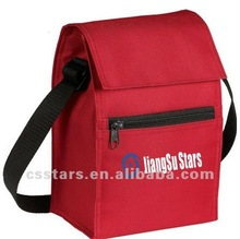 Red 600 denier polyester insulated lunch bag cooler
