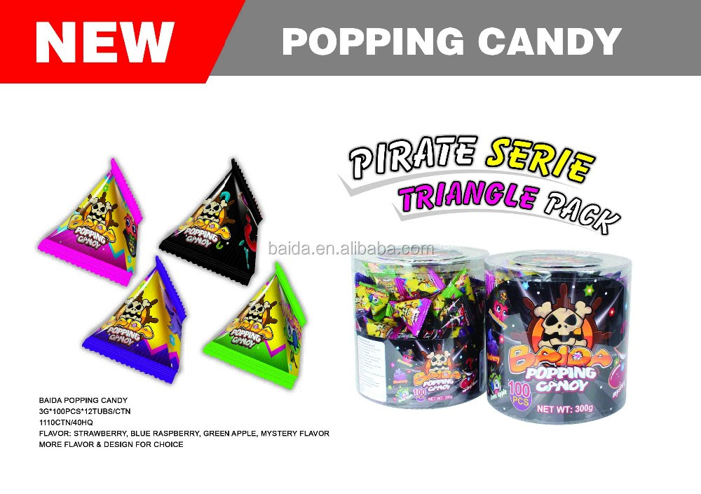 Mix fruity flavor popping candy with triangle packing