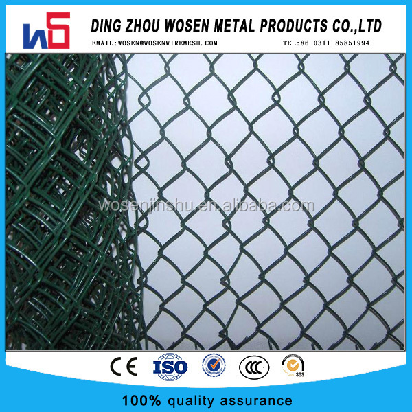 50mmX2.8mmX6ft 50ft green pvc coated used chain link fence for sale
