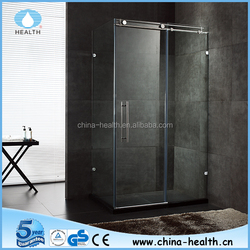 Sliding shower box, chrome finished with tempered glass