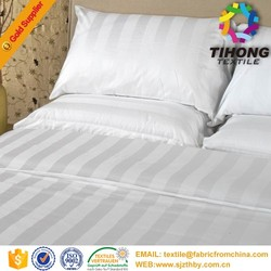 cotton striped bedding white fabric for hotel