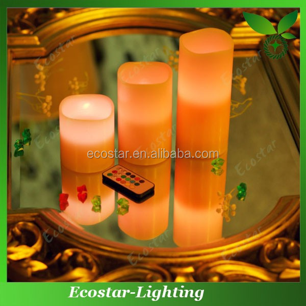 Yellow flickering led candles with false wick