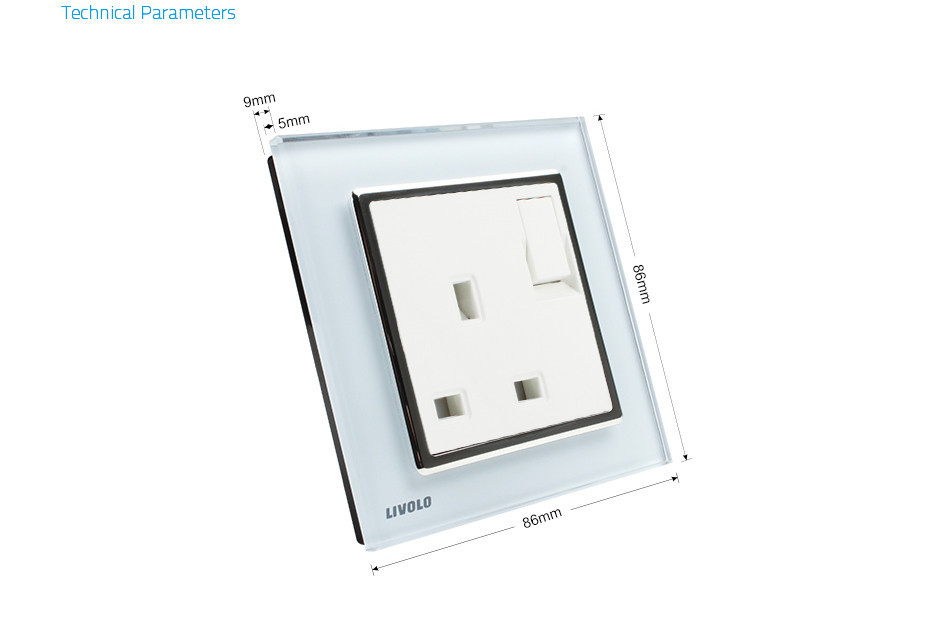 Livolo Manufacturer, 1 Gang 1Way Push Button Wall Switch With 13A Socket , White Crystal Glass Panel, VL-W2Z1UK1-12