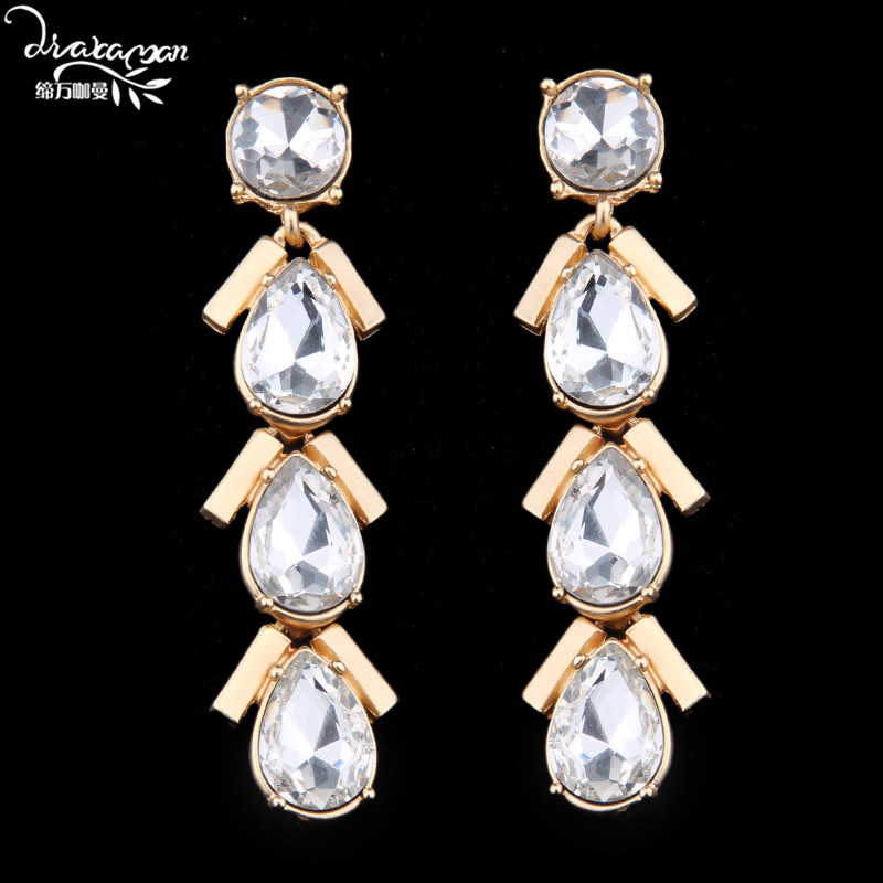 Dvacaman Brand 2017 New Za Design Valentine's Day Gift For Women Luxury Long Dangle Earrings Crystal Party Statement Jewelry M30