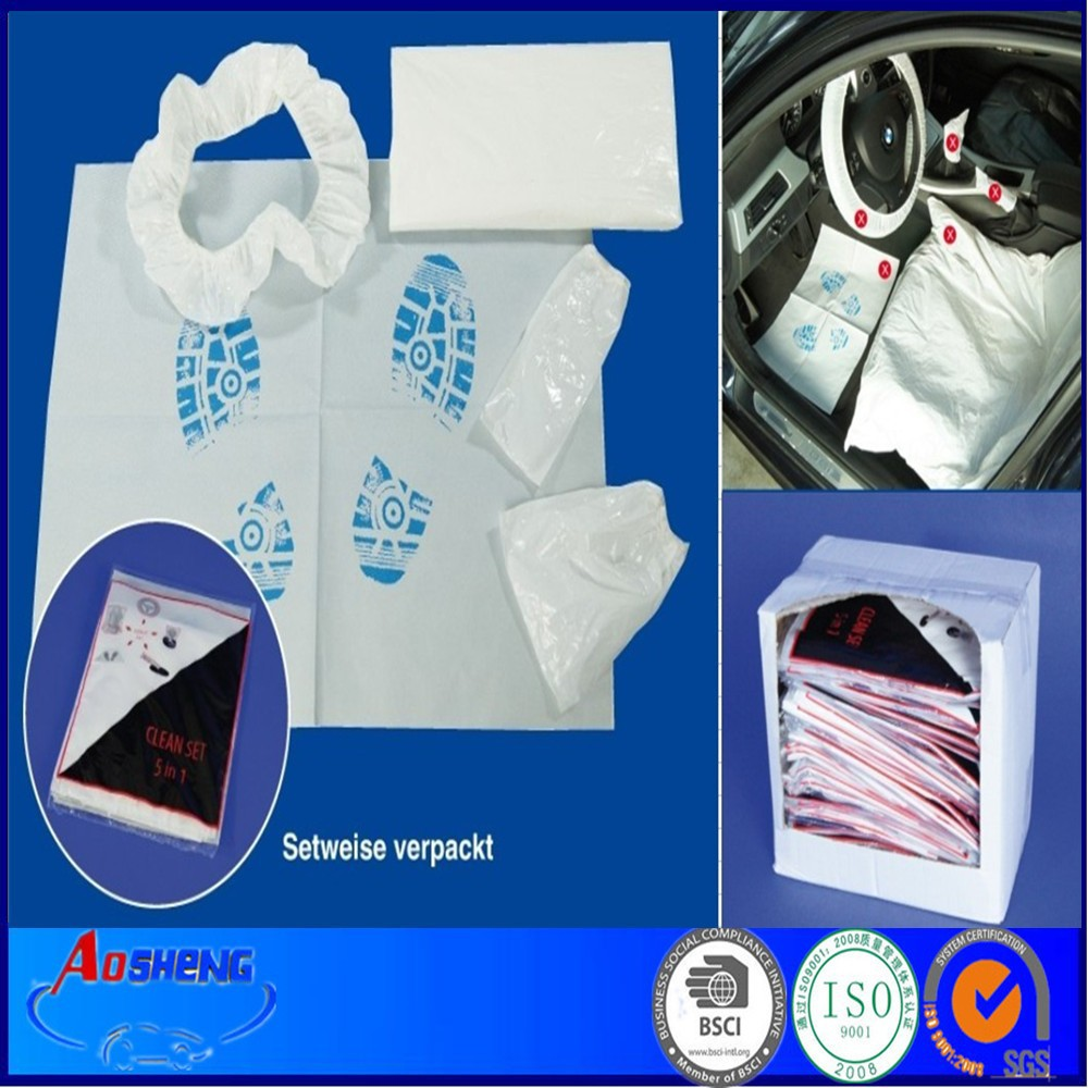 Disposable PE 5 in 1Car Kit De Protection