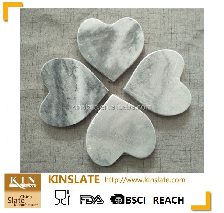 Heart shape natural grey marble coaster with polished surface