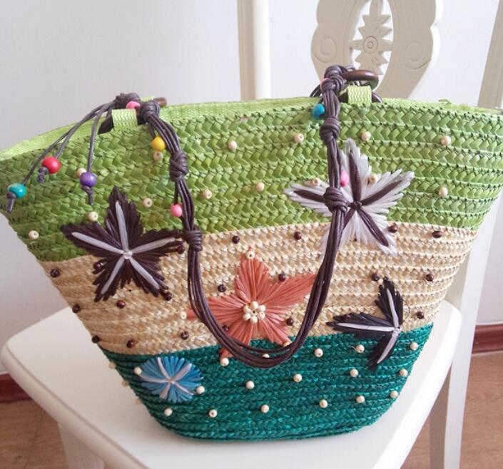 New Design 2018 Handmade Corn Straw Beach Bag
