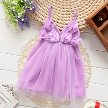 W52112Q 2016 children's clothing girls dress summer flowers sling net veil dress baby gauze party dress