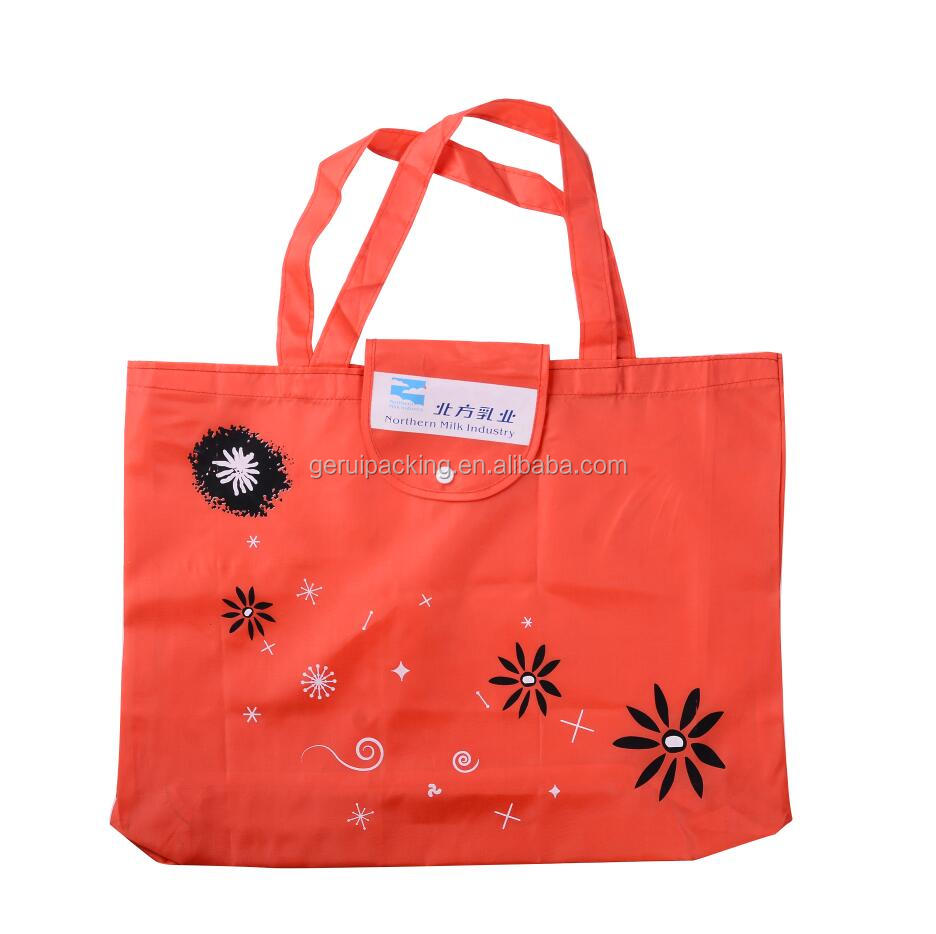 reusable portable durable foldable 190T/210D polyester tote bag for grocery shopping