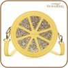 2016 Fashion Shining Orange Lemon Genuine Leather Round Shape Lady Handbag Ladies Cross Body Bag for women