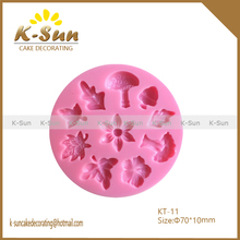 High quality reposteria moldes MINI tree leaves flower silicone cake mold moldes de silicone fondant cake decorating tools