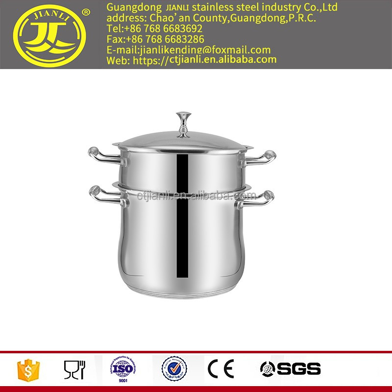 Useful kitchen pot stainless steel hot pot with laser polish two layer jakarta cookware