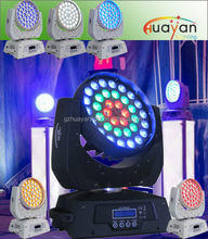 Good warranty 36pcs 12W wash RGBWAUV 6in1 leds ZOOM moving head with single circle leds controlled for wedding event
