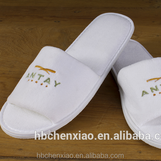 Favorable price 100% cotton terry towelling hotel luxury slipper