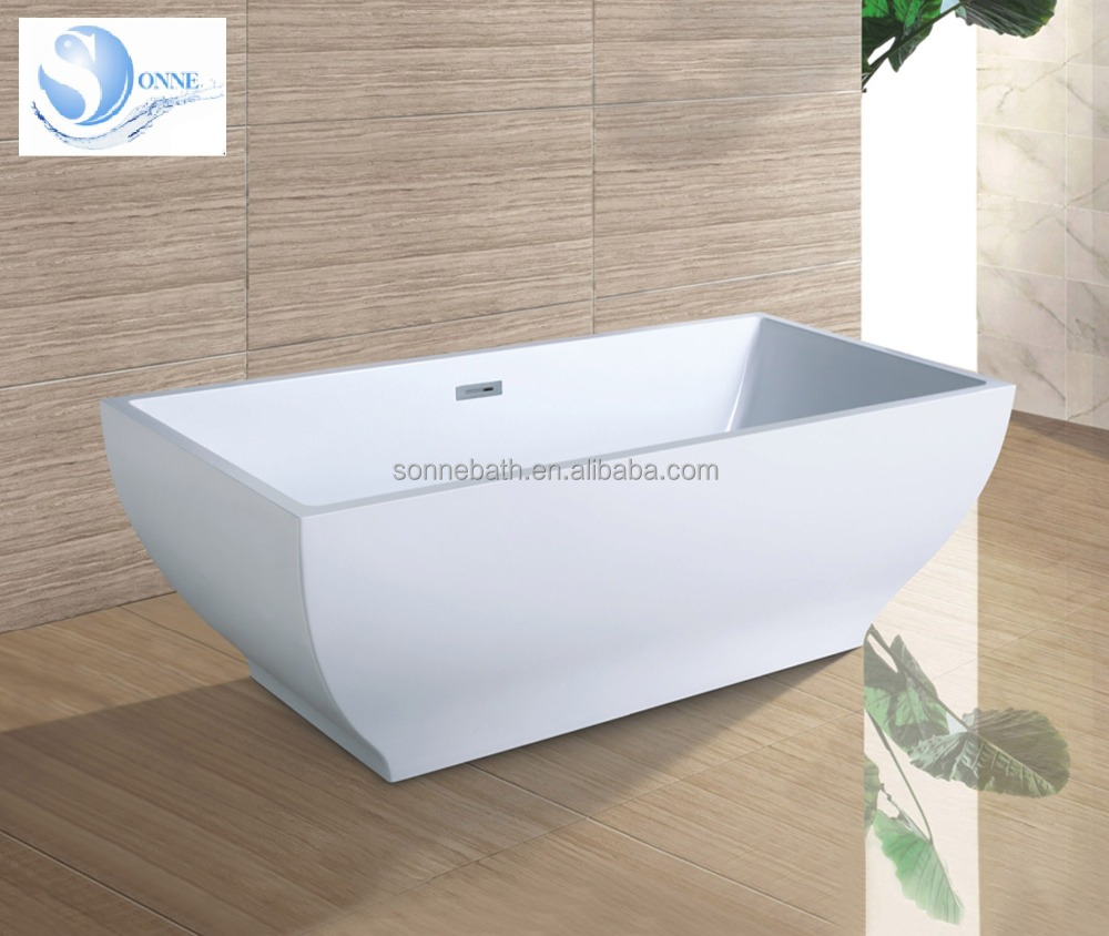 Sonne White Acrylic Oblong Freestanding Bathtub with Center Drain SA-7137