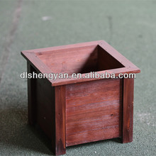 Cheap Large Handmade Square Painted Wooden Planter and Flower Pots