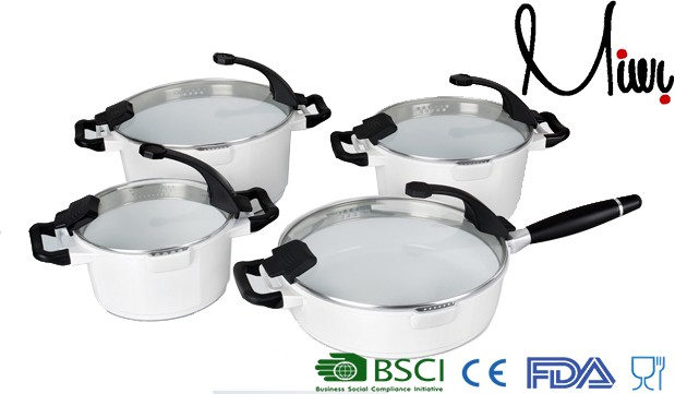 beautiful all white ceramic cookware set ,technique cookware