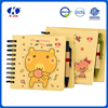 Promotional custom small coil notebook with pen attached
