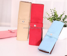 Luxury Roll Leather Make Up Cosmetic Pen Pencil Case Pouch Purse Bag for School