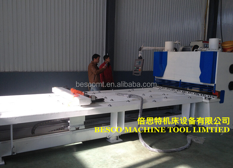 guillotine shearing machine with feeding table, hydraulic shearing machine feeder