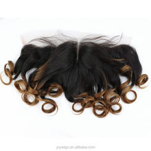 Factory directly two tone ombre human hair ear to ear lace frontal