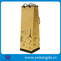 Yiwu factory quality promised wholesale brown kraft single paper wine bag
