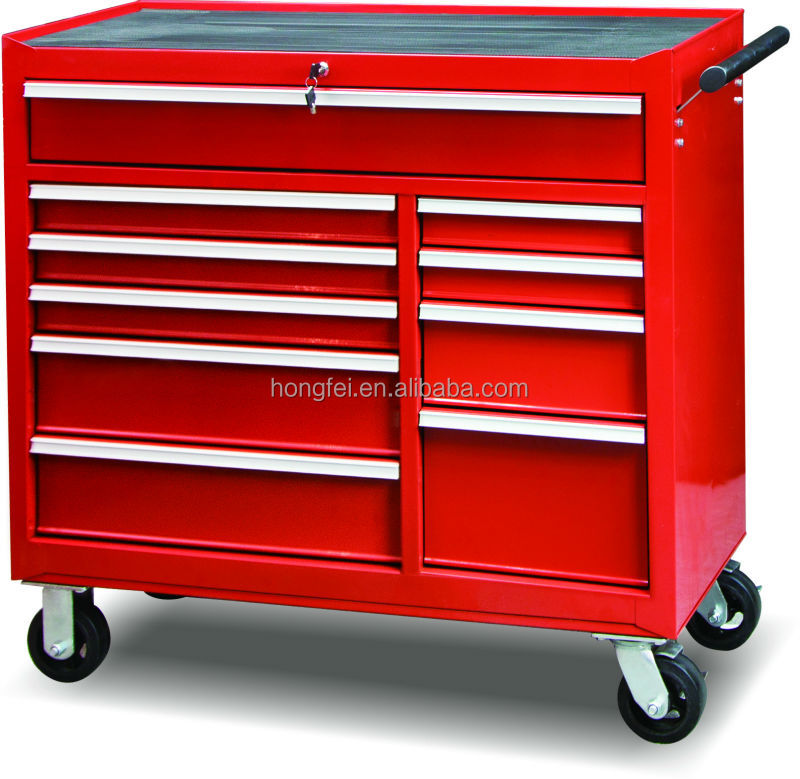 Steel metal roller trolley tool box set on wheels with brake