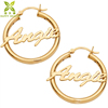 14k gold plated custom engraved name hoop earrings