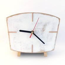 Home decor Wooden gift White Table clock