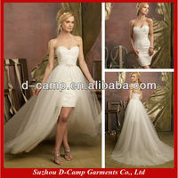 WD-259 New arrival fancy beaded lace and tulle wedding dresses removable skirt