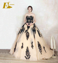Elegant Strapless Sweetheart Black Lace Appliques Tulle Ball Gown vestidos de noiva 2014