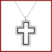 Fashion Design Stainless Steel Floating Charms Necklace Cross Locket Pendant