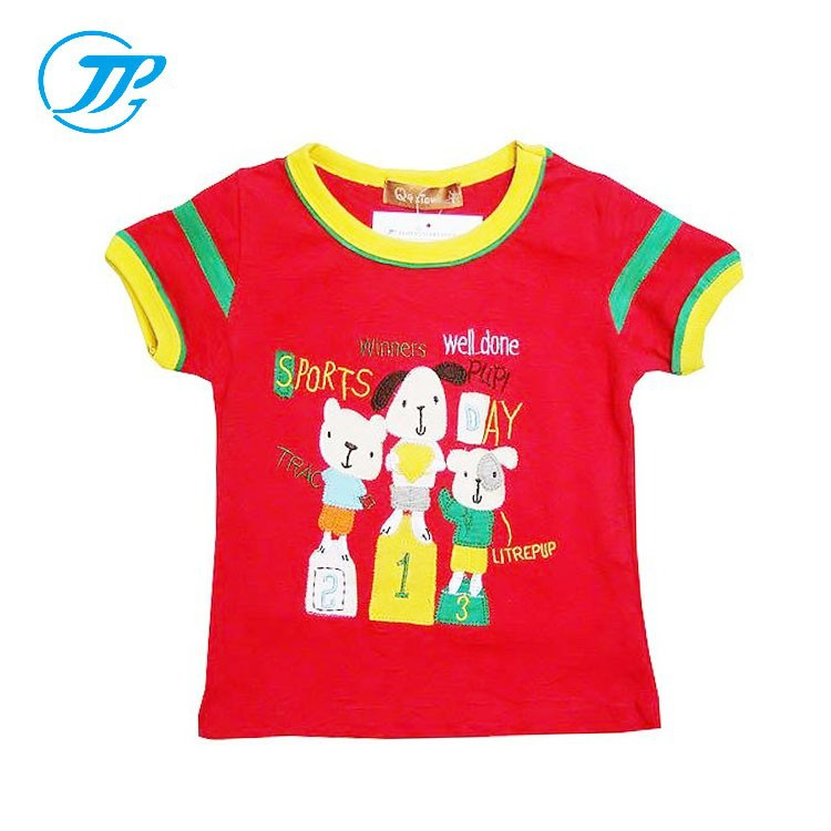Newest Fashion Design For Boys Blouses Red Short Sleeve Shirts Kids Cartoon Printed T-shirt