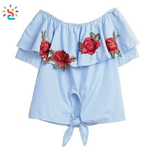 Women ruffle tshirt sailor blue and white striped off the shoulder casual floral embroidery design blouse shirt tops