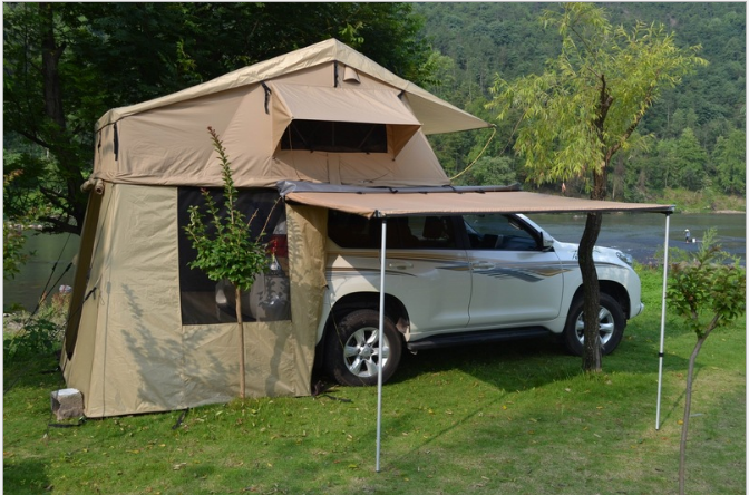 Large 4WD Roof Top Tent With Annex Walls & Doors + Floor Canvas Cotton