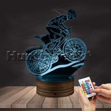 MTB Mountain Biker 3D LED Light Decor Glowing USB Lamp Off Road Bicycling Night Light With 16 Colors Change Remote Controller