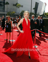 Celebrity Inspired Jennifer Morrison 2012 Creative Arts Emmy Awards Red Chiffon Shanghai Prom Dress
