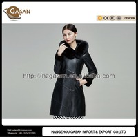 Russian Ladies Real Leather Winter Hooded Coats With Lambs Wool Liner