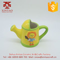 Children used mini ceramic planter porcelain sunflower watering can for christmas ornament