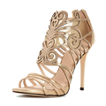 china factory high quality patent leather mesh back zipper laser upper design high heel sandals for women
