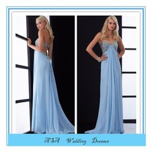 Sexy Light blue Empire Waist long prom dresses for pregnant groom 2015 (YASA-838)