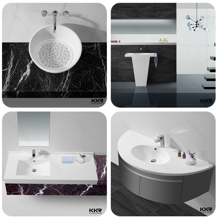 faux stone wash basin solid surface pedestal basin for washroom