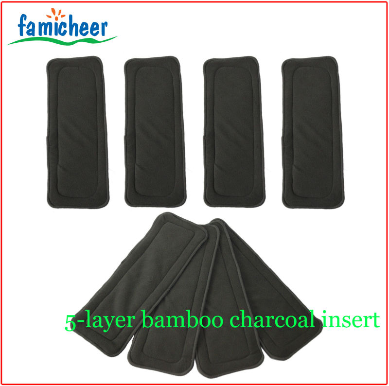 Famicheer 5-layer Bamboo Charcoal Nappy Booster Inserts