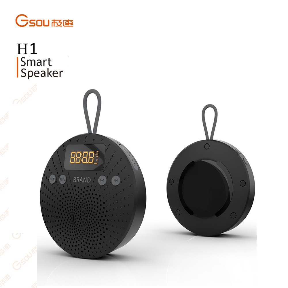New design wireless stereo bluetooth shower speaker for online retailer with time display