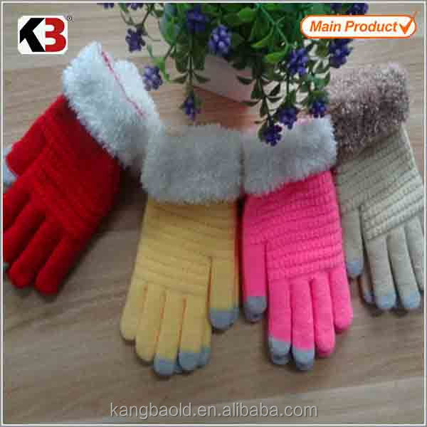 2016 Ladies Acrylic Feather Knitted Mitten woolen knitted mitten gloves fashion style