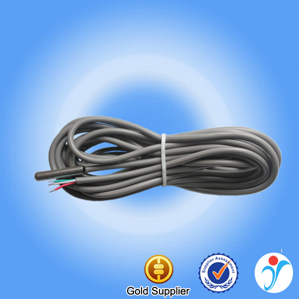 Gray round sheath cable digital probe ds18b20 4m thermal water temperature sensor