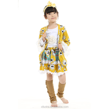 Children fall outfits kid clothes floral coat printed cotton suits